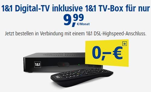 1&1 TV Box GRATIS mit Digital TV für 9,99€