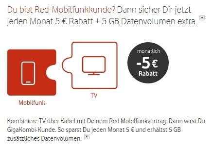 Vodafone: Jeden Monat -5€ für TV sparen für Vodafone Mobilfunk-Kunden