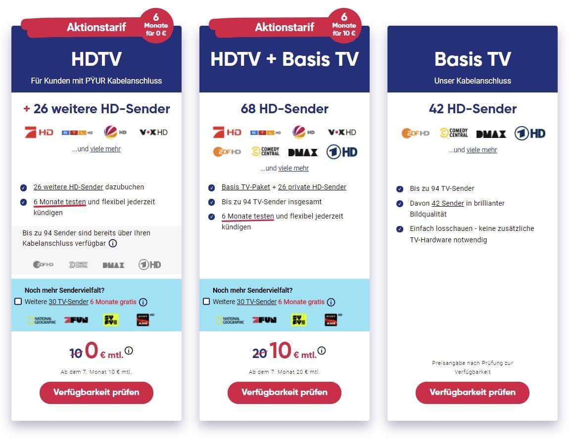 PŸUR HDTV Special: 0€ für 6 Monate!