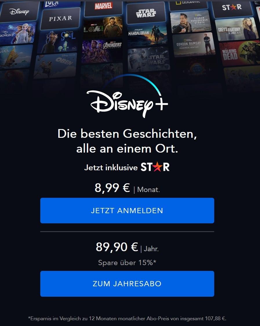 JETZT: Disney+ Angebot: 20% sparen - Nur 7,49€/Monat!
