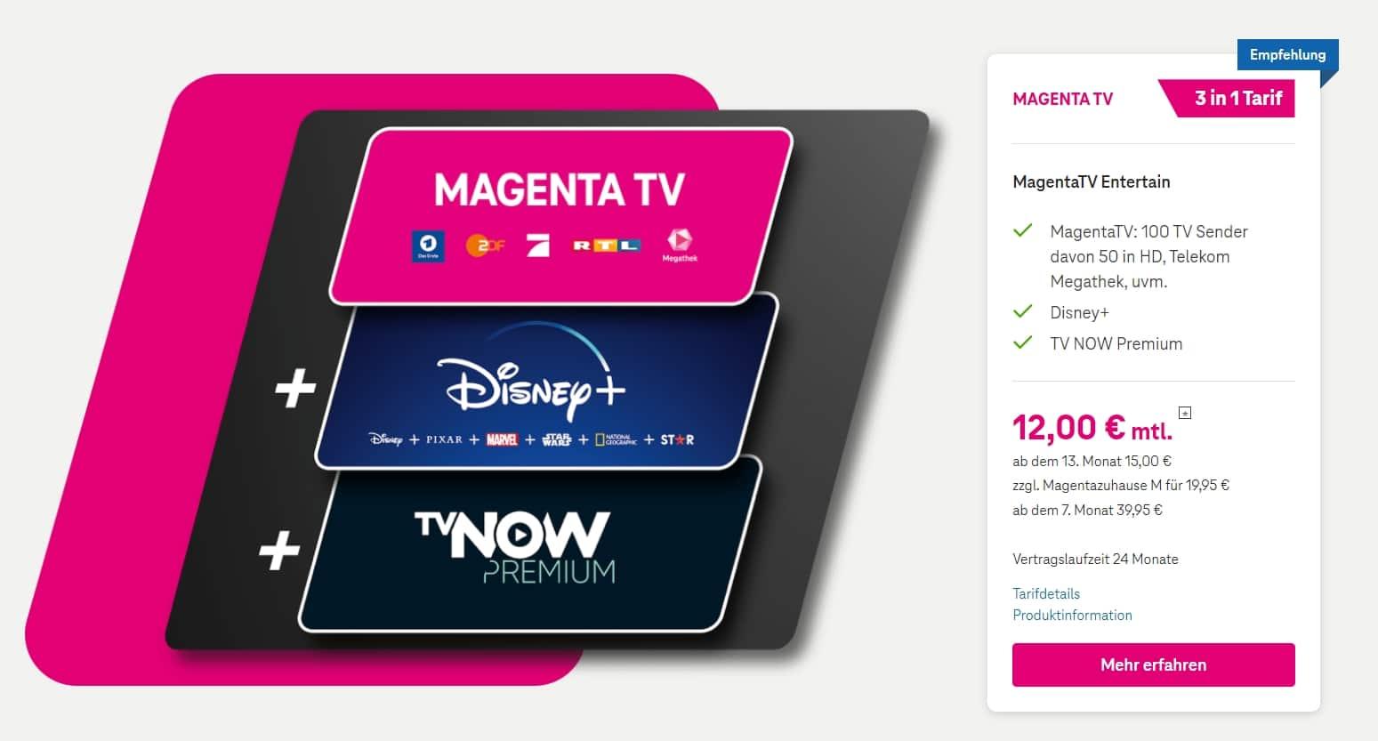 NEU: MagentaTV + TVNOW + Disney+ nur 12€/Monat!