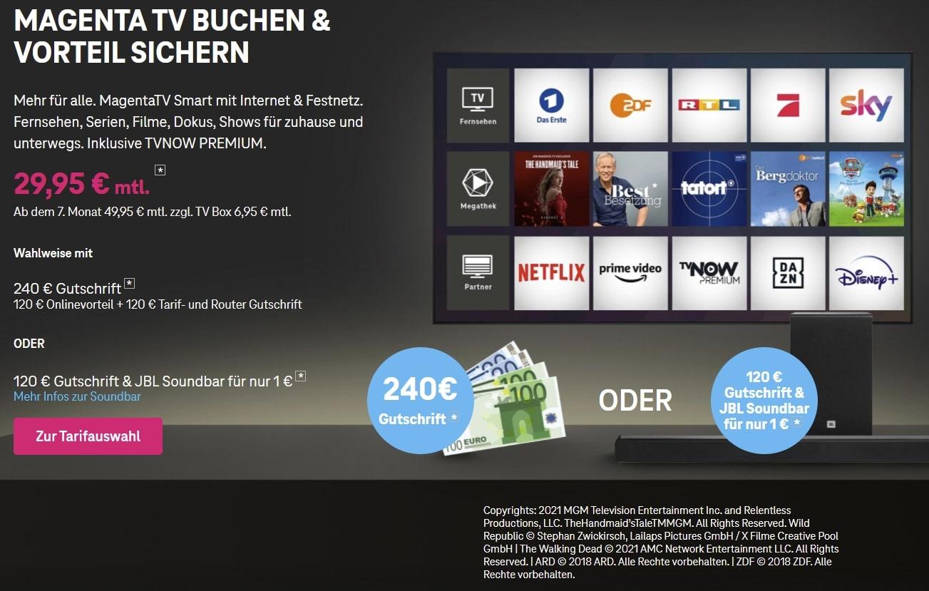 Magenta TV buchen + JBL Soundbar für 1€