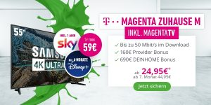 "DeinHome Mega-Bundle: 22,03€/Monat inkl. MagentaTV, 55"" SmartTV, 1 Jahr Sky, 6 Monate Disney+ und mehr!"