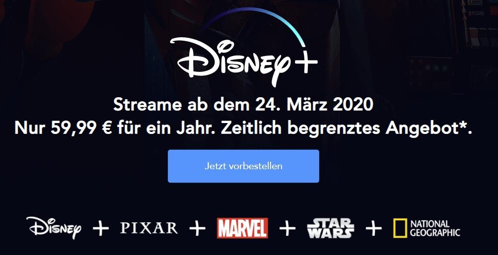 Disney+ Pre-Sale: Nur 59,99€ für 1 Jahr (statt 69,99€)