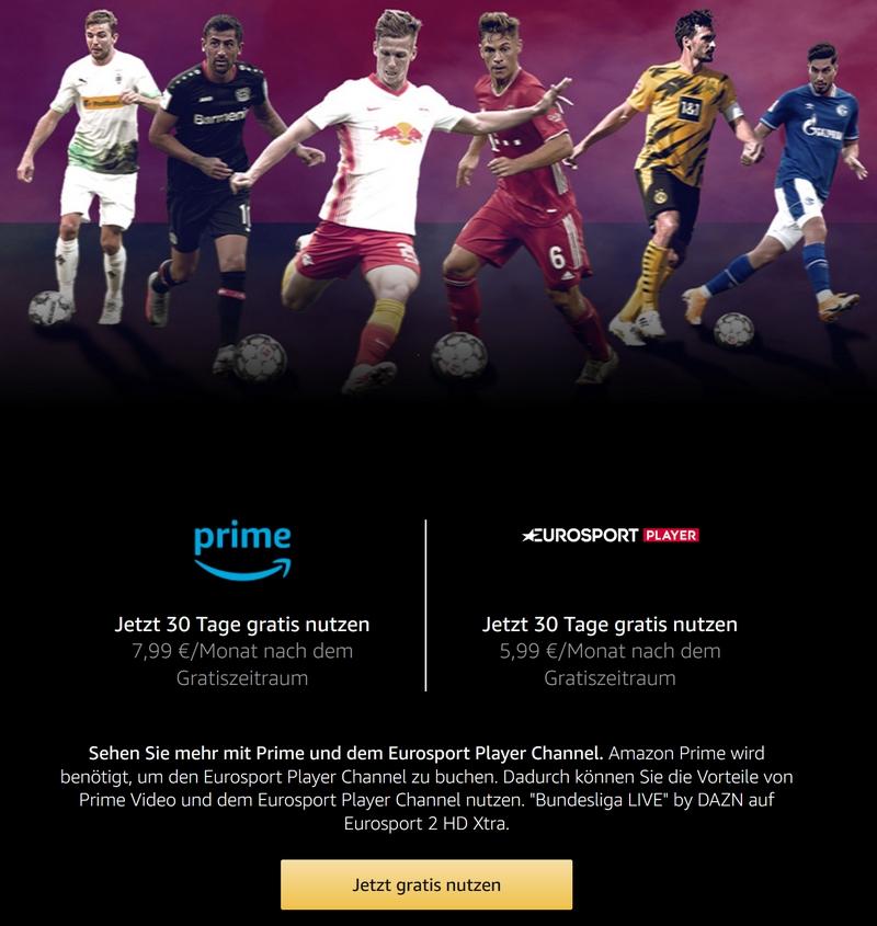 Eurosport Player Amazon Prime Special: 30 Tage kostenlos Eurosport Player bei Amazon prime