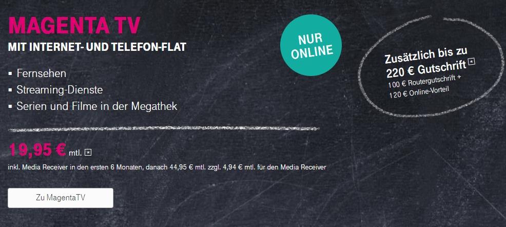 Telekom MagentaTV Tarif buchen - Jetzt bis 220€ Bonus sichern