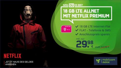 Telekom 18 GB LTE Allnet Flat inkl. Netflix Premium!