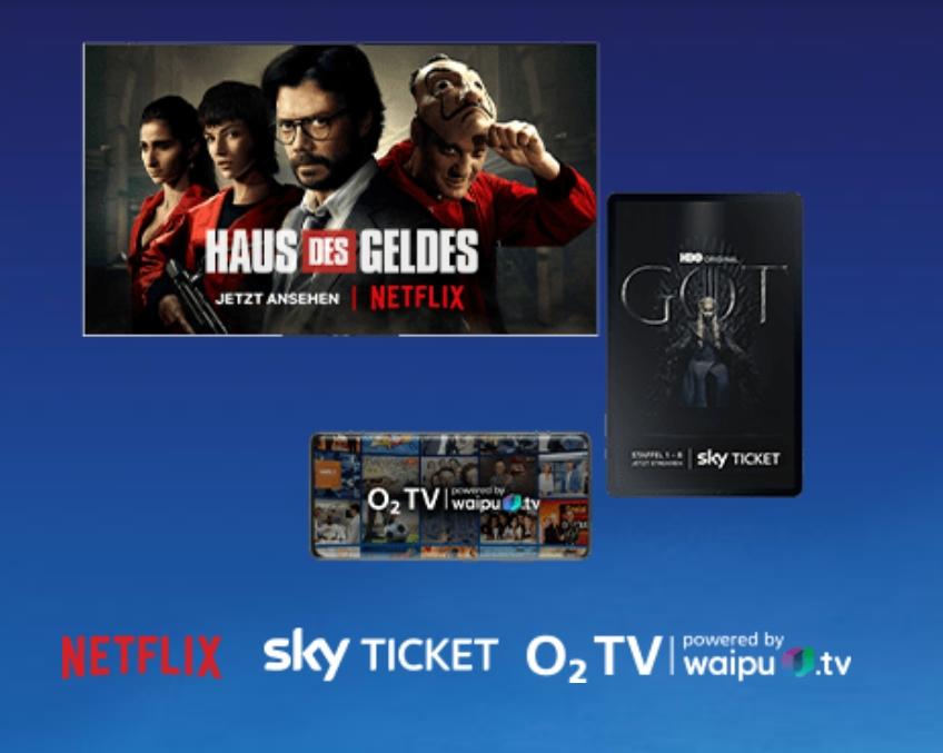 JETZT: O2 TV, Netflix & Sky Ticket kostenlos im O2 Handyvertrag!