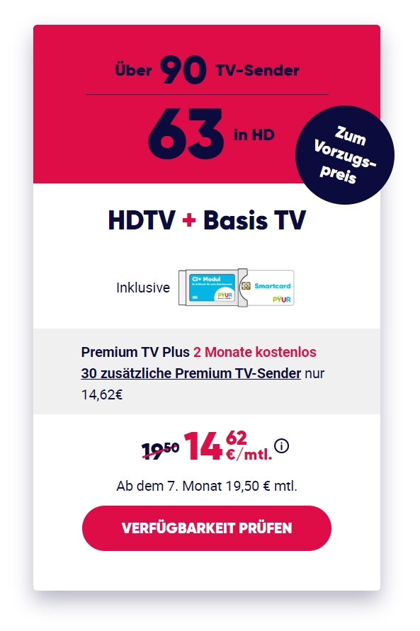PŸUR HDTV Special: Nur 4,87€/Monat für HDTV!