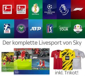 Sky Live-Sport komplett Angebot nur 30€/Monat inkl. Trikot kostenlos!