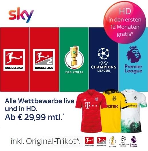 Sky inklusive HD & UHD & Original Trikot*! JETZT ab 14,99€ buchen!