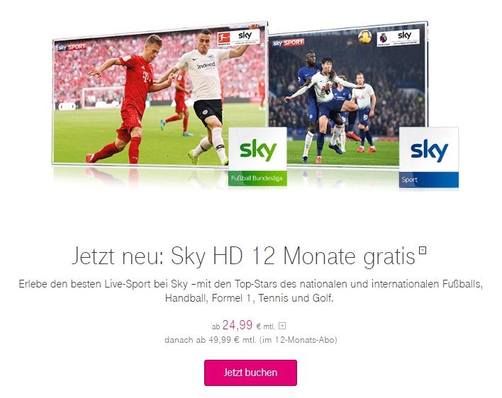 Sky zu MagentaTV buchen und 12 Monate HD gratis erhalten!