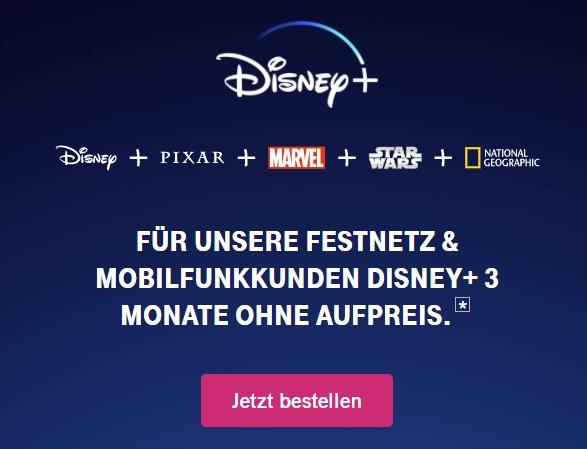 Disney+ 3 Monate kostenlos für Telekom-Kunden - JETZT: 3 Monate kostenlos ohne Vertrag!