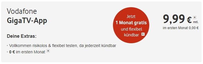 Giga TV App bei Vodafone jetzt 1 Monat GRATIS testen