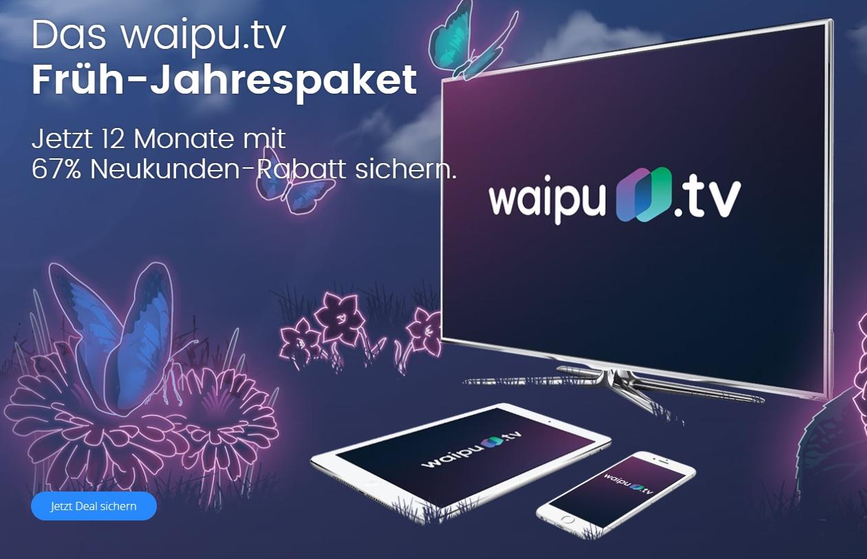 Waipu.tv Frühjahrs-Special - 67% Rabatt - 12 Monate lang!
