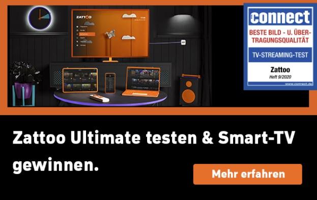 Zattoo Ultimate 30 Tage kostenlos | JETZT: 1 von 2 LG Smart TVs gewinnen!